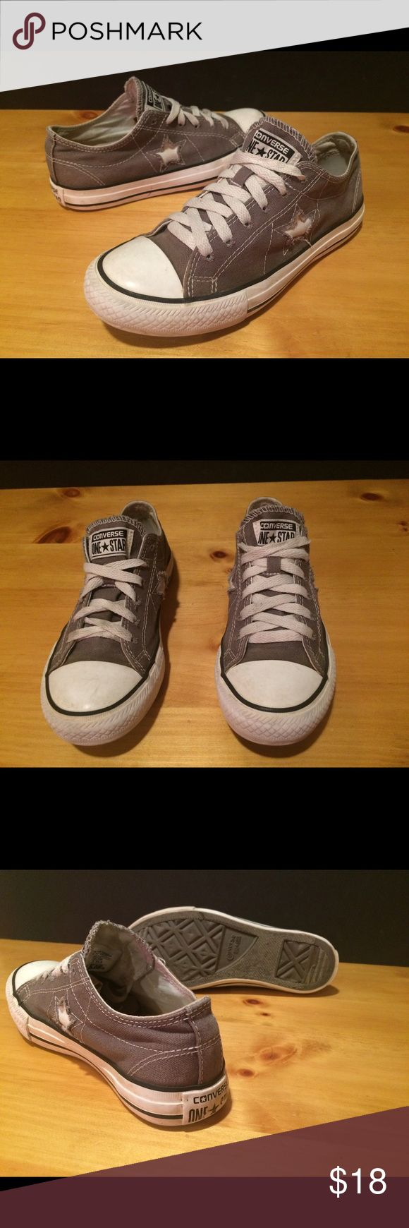 Women's Size 5.5 Converse One Star Gray Shoes Women's size 5.5 gray & white Converse One Star shoes. See photos and please message with any questions! :) Converse Shoes Sneakers