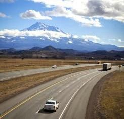 Via Magazine - Road Food Warrior: Eats worth a stop I-5 Sacramento to Portland and south to LA: (view of Interstate 5 near Weed, California, image)