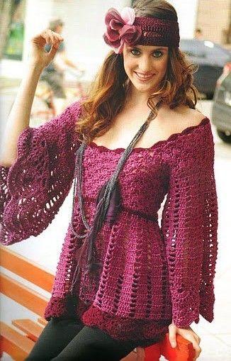 Vintage Burgandy Flare Sleeve Top free crochet graph pattern