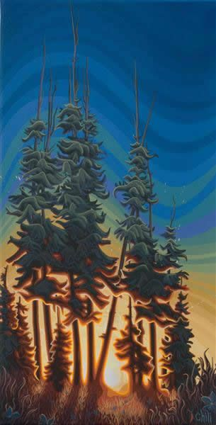 """Chili Thom -  A Splash of Sunlight - 12"""" 24"""" Acrylic painting on canvas - SOLD"""
