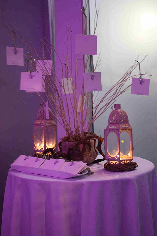 "Nice idea... To setup a ""leave a message"" for the bride & groom. Also nice touch on the purple uplighting and the candles lite in the rustic candle holders."