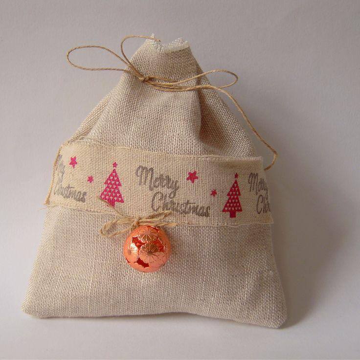 Pochon lin pour paquet cadeau Noël, pour papillottes....