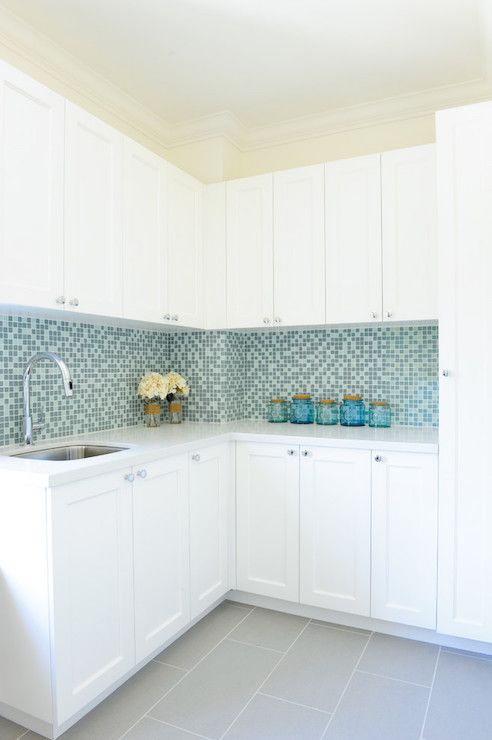 Blue Mosaic Glass Tiles, Contemporary, Laundry Room, Enviable Designs