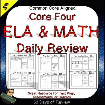 5th Grade ELA and Math Daily Review consists of 4 questions each day designed to expose students to ELA and Math standards throughout the year. This can be used as a Do Now, homework sheet, quick assessment, centers or print it up as a review packet towards testing time.
