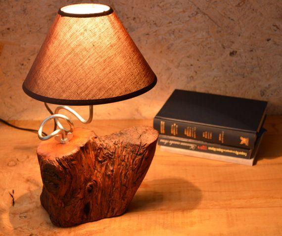 Brown shade wood lamp Night lamp Walnut wood lamp by WoodRestart