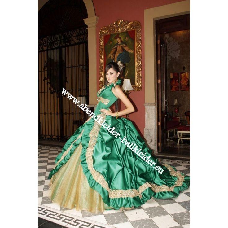 Neckholder Cinderella Abendkleid Ballkleid Brautkleid in Grün Gold