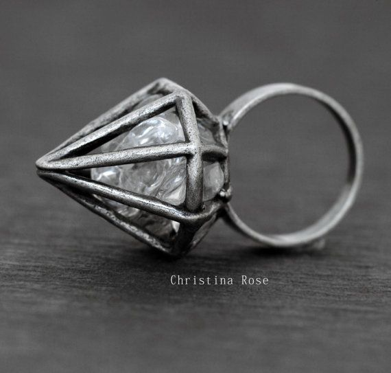 PURE CRYSTAL DIAMOND Natural Stone Ring  by ChristinaRoseJewelry, $75.50