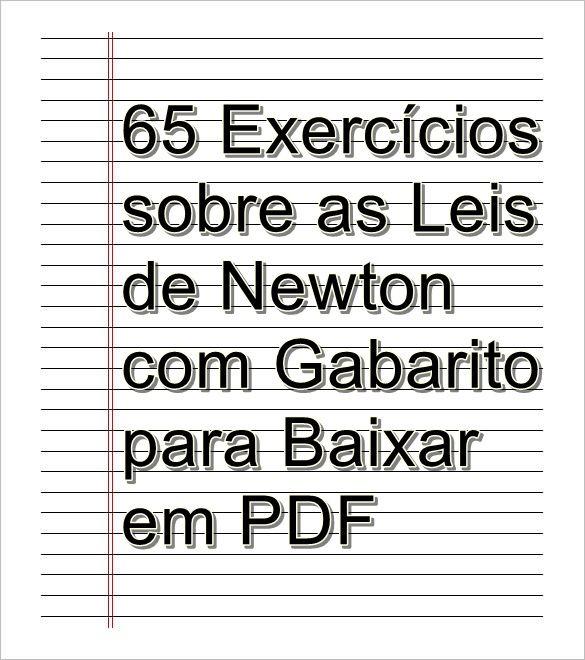 65 Exercicios Sobre As Leis De Newton Com Gabarito Para Baixar Em