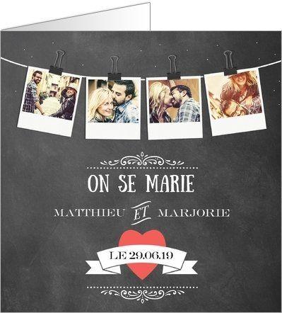 #Fairepart #mariage polaroids. Disponible en 4 formats et à personnaliser sur Popcarte.com