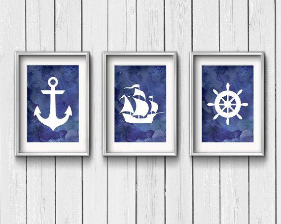 "Nautical Art Printable   Blue Watercolor   Ship, Anchor, Helm   8"" by 10""   Bundle   3 Digital Files   Instant Download"