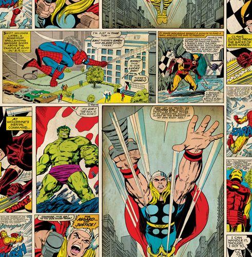 """Färgstark seriemönstrad med Spindelmannen, Hulken m.fl.""""Marvel comic strip"""""""