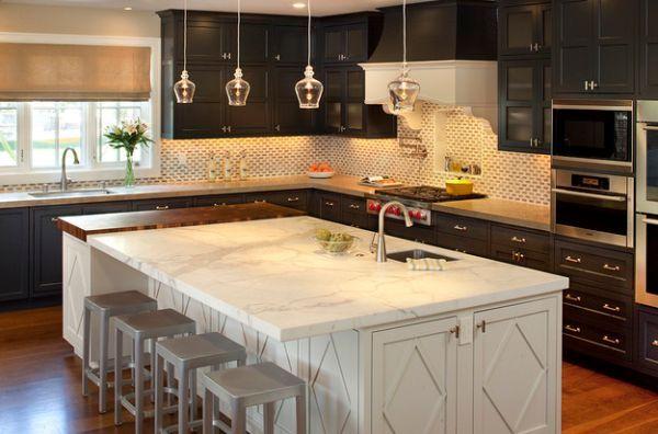 Бесподобные подвесные светильники в интерьере кухни