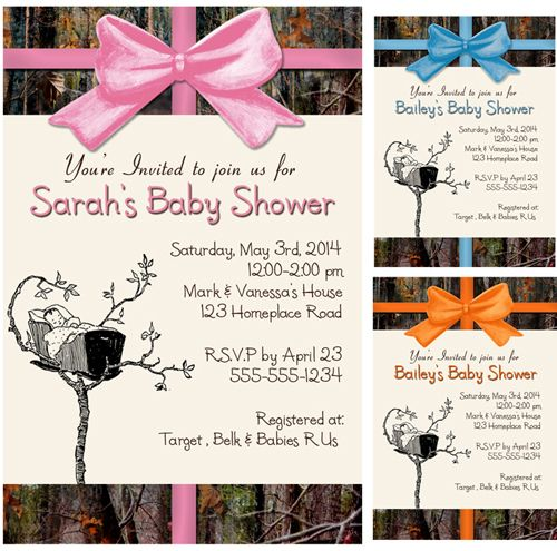best pink camo baby shower images on   camo baby, Baby shower