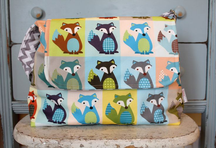 FOX Messenger Diaper Bag by PETUNIAS - hobo bag purse tote laptop carry all gym sack gift baby shower nappy everyday ready to ship modern. $74.50, via Etsy.
