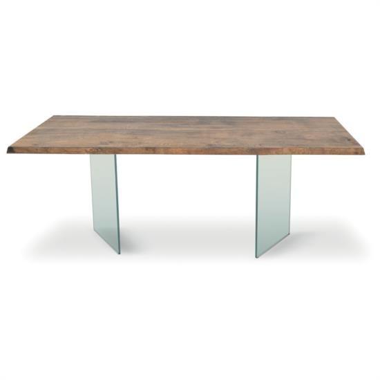 Tavolo fisso di design con base in vetro e piano in legno