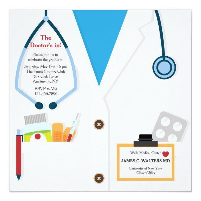 Doctor Is In Graduation Invitation Zazzle Com Graduation Invitations Doctor Graduation School Invitation