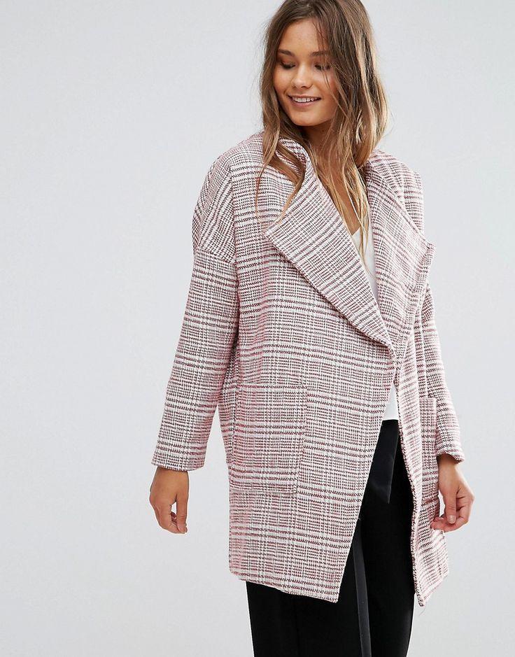 Lunik Oversized Tweed Coat - Pink