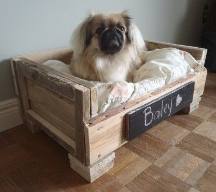 DIY Pallet Pet Bed. First I need a puppy. And then I will make it a bed like this.