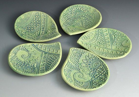 Diwali Diyas Tealight Holders in Green by Creativewithclay on Etsy, $16.00