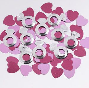 Bride To Be Dots Confetti -   Finish off your table decorations with Bride To Be Dots Confetti.    An assortment of metallic silver, pink and purple wedding ring and heart shapes.  See more at http://www.myhensparty.com.au