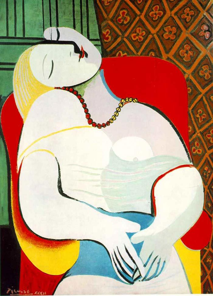 Pablo Picasso - Le Rêve (The Dream) It is a 1932 oil painting. He is portraying his 24-year-old mistress Marie-Thérèse Walter in this artwork. It belongs to Pablo Picasso's period of distorted depictions, with its oversimplified outlines and contrasted colors resembling early Fauvism.