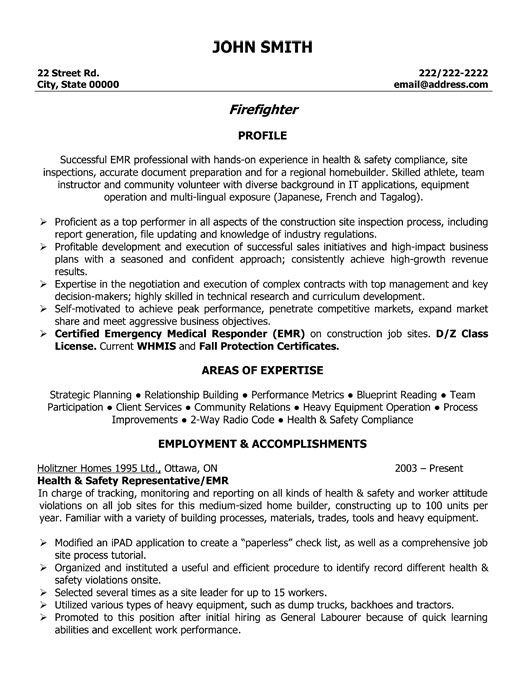 fire fighter resume firefighter resume template - Health And Safety Engineer Sample Resume