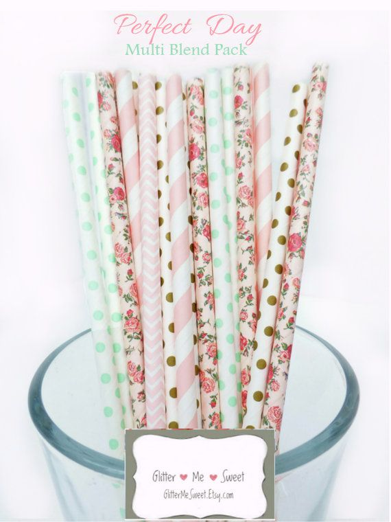 Mint and Pink Floral Paper Party Straws  Whimsical and Sweet!  - 25 Pieces  - These superior quality paper straws are the perfect elegant touch to