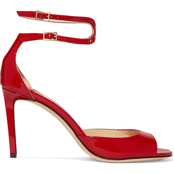 Jimmy Choo Lane 85 patent-leather sandals ($695) ❤ liked on Polyvore featuring shoes, sandals, strappy high heel sandals, red high heel shoes, red patent leather sandals, high heels sandals and stiletto sandals