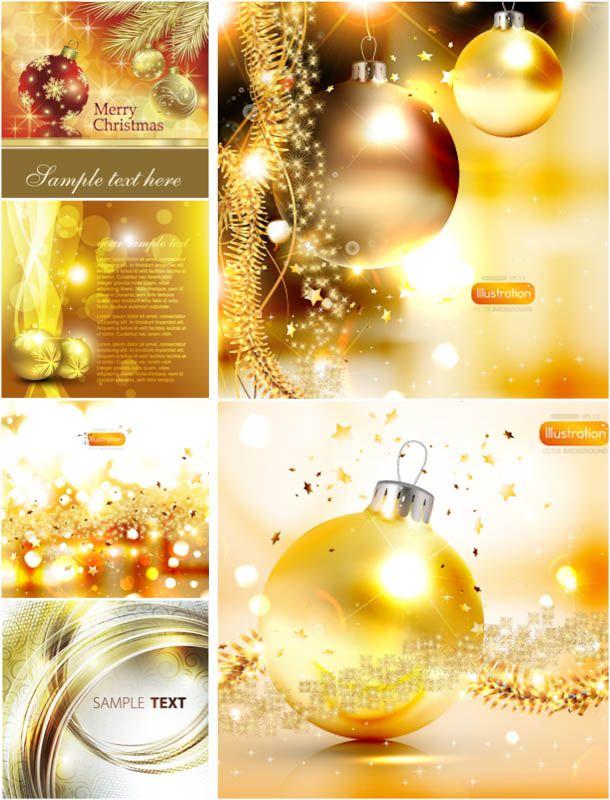 Golden Christmas backgrounds vector 2