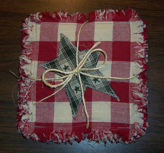 Rag Quilt Coasters/Mug Rugs/Small Candle by CountryCuriosities