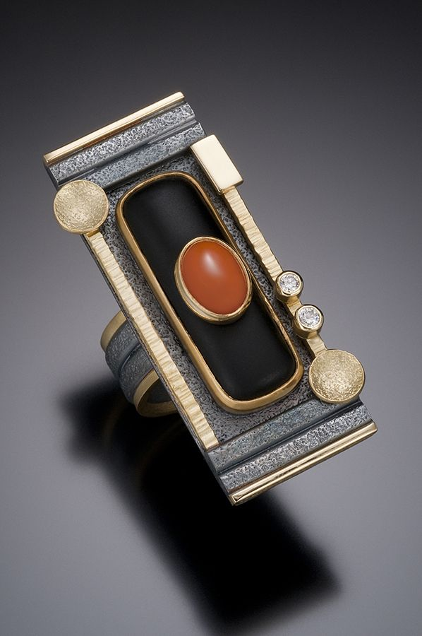 Beth Solomon ~ Rectangular Black Jade and Coral Ring