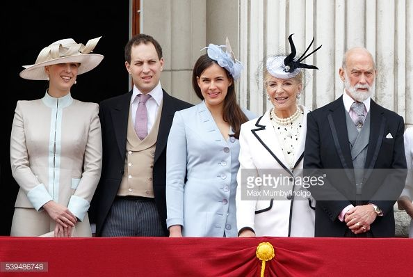 Lady Gabriella Windsor, Lord Frederick Windsor, Lady Frederick Windsor, Princess Michael of Kent and Prince Michael of Kent stand on the balcony of Buckingham Palace during Trooping the Colour, this...