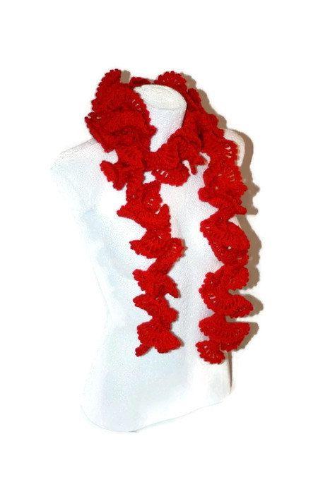 Crochet red scarf crochet neckwarmer crochet shawl by MaKatarina #crochetscarf , #crochetshawl, #crochetneckwarmer, #Etsyshop, #etsyseller, #laceshawl, #lacescarf, #laceneckwarmer, #froufrouscarf, #romanticscarf