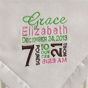 Birth Announcement Embroidered Baby Blanket - Great personalized baby gift that will be cherished with all the birth details it displays.  Click for product details  pricing.