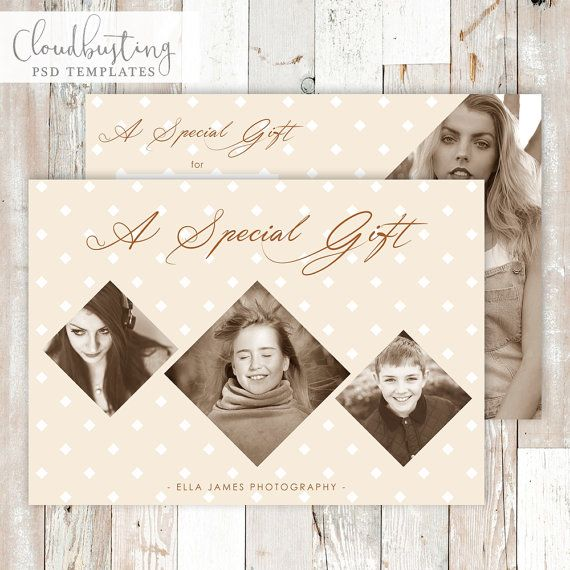 Photography Gift Certificate Card - Customizable Photoshop Template - https://www.etsy.com/listing/285371727