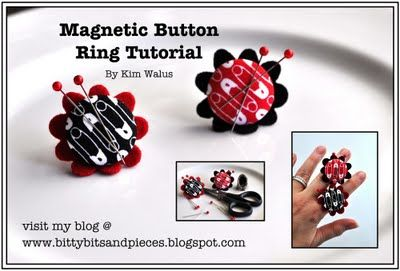 bitty bits & pieces blog, Magnetic button ring tutorial