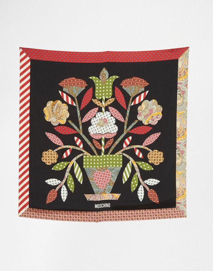 Изображение 3 из Квадратный шелковый шарф с цветочным принтом в стиле фолк Moschino