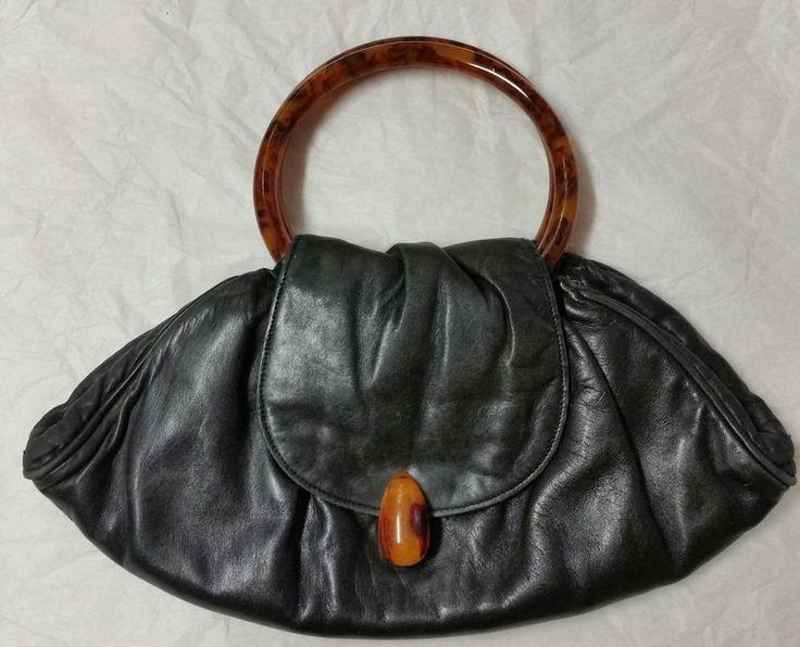 Annons på Tradera: Retro handväska svart läder med falsk sköldpadd 60-tal