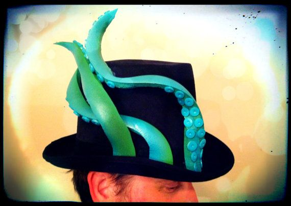 Steampunk Octopus Tentacle Top Hat by monkeythumbs on Etsy, $69.00