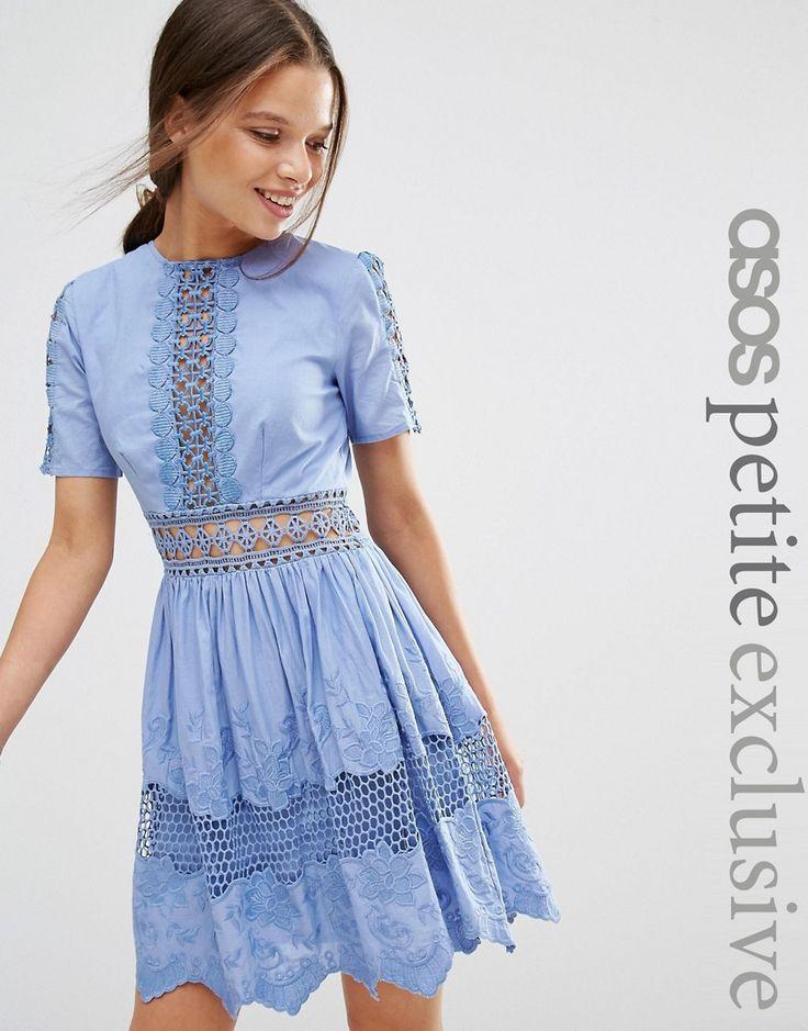 Image 1 ofASOS PETITE Lace Embroidered Cotton Dress