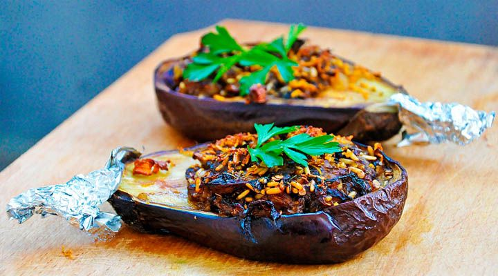 Stuffed Eggplants with Garlic Sauce - Healthy Vegan Recipe