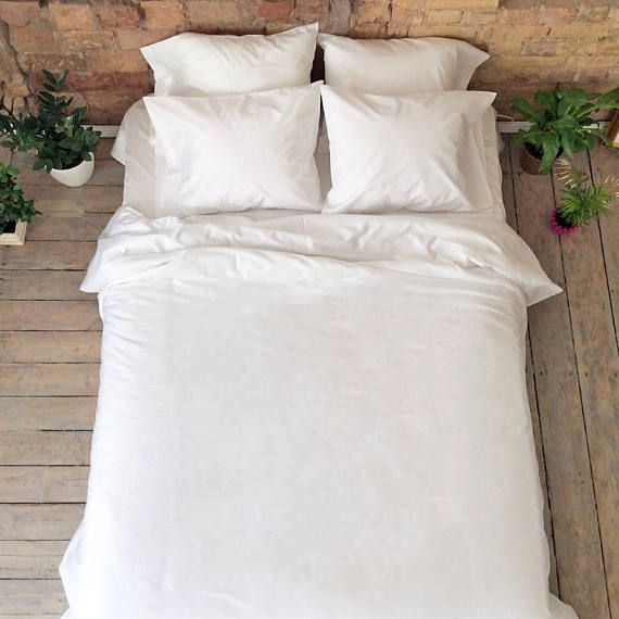 Egyptian Cotton Sateen, Organic cotton satin bedding set, white satin king queen size duvet pillow cases Luxury bedding Handmade Duvet cover  This Finest Egyptian Cotton Sateen is Luxury and amazing material which is really popular and expensive! Soft to your skin - it will be very gentle to our skin while you will sleep. Brilliant white color will make your bedroom very romantic peaceful and chic!  Order Includes: 1 Duvet Cover or any size for your choice and 2 Pillowcases (20 x 28 inches…