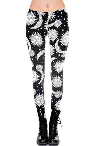 Black and White Sun and Moon Leggings - Pixie Kitsune