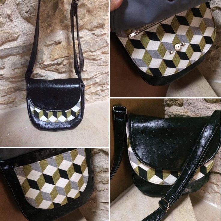 Sac bandoulière Musette cousu par Léoane simili noir et motif géométrique - Patron de couture http://sacotin.com/boutique/patron-sac-musette/