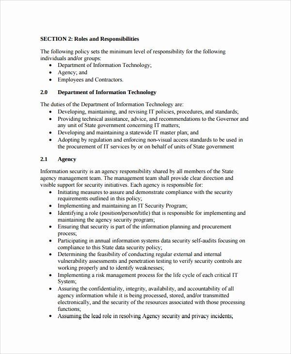 Information Security Policies Templates Awesome Sample It Security Policy Template 9 Free Documents It Security Policy Policy Template How To Plan