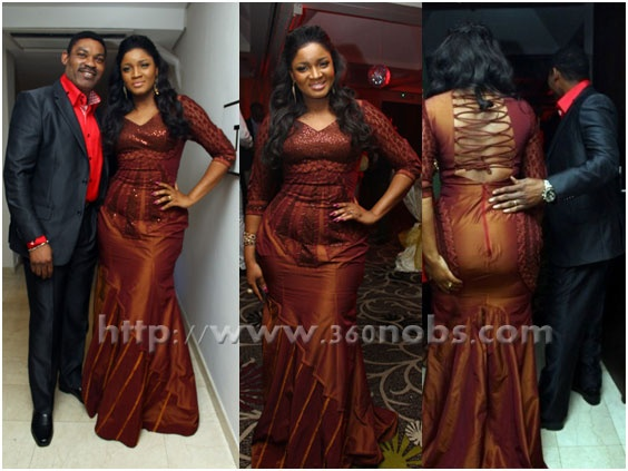 Nollywood superstar, Devoted Wife, Mother of 4, Business Woman, Singer, Activist, philanthropist and now a Reality TV Show Star –  Omotola Jalade Ekeinde's new reality TV show, 'Omotola: The Real Me', was officially unveiled by Africa Magic at an exclusive cocktail launch held at the Wheatbaker Hotel, Ikoyi, Lagos    Omotola dazzled in a floor length metallic brownish burgundy Iconic Invanity evening dress that had an interesting criss-cross straps pattern at the back.