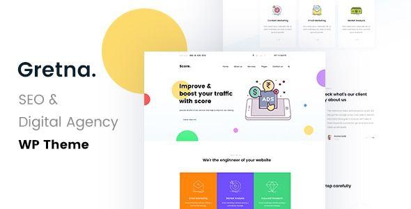 Gretna Seo Digital Agency Wordpress Theme Gretna Is A Powerful Easy To Use Highly Customzable Seo Dig Digital Agencies Website Template Html5 Templates