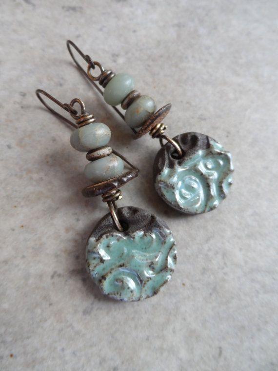 ceramic amazonite and brass by juliethelen