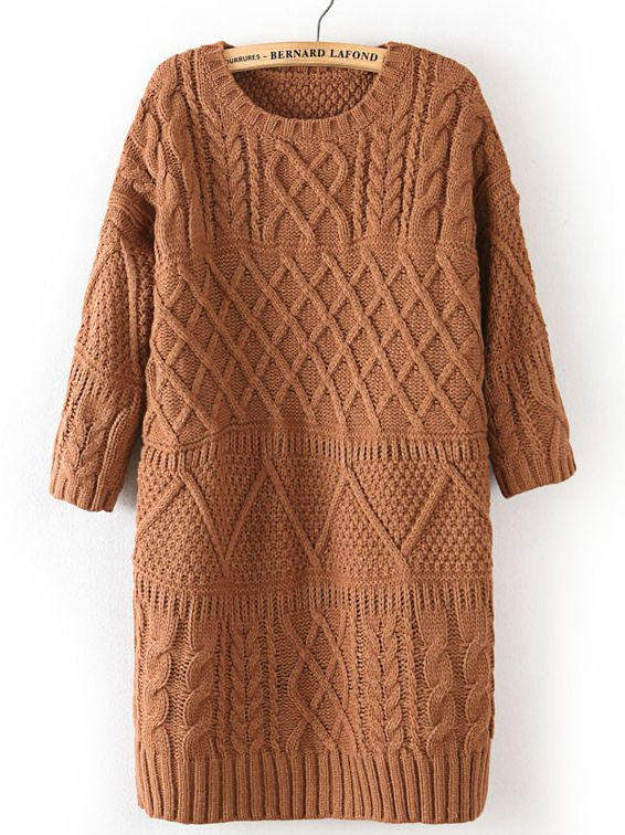 Khaki Half Sleeve Cable Knit Long Sweater by: SheInside