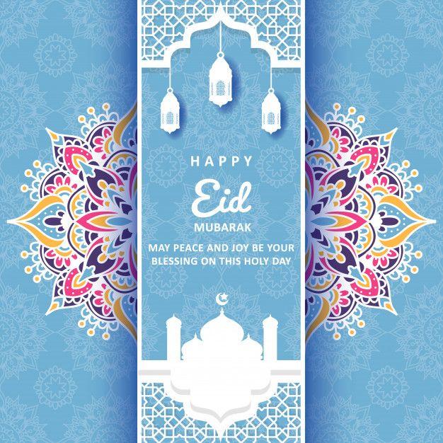 Eid Mubarak Greeting Card With Mandala Ornament Dengan Gambar